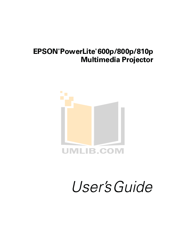 Download free pdf for Epson PowerLite 800p Projector manual