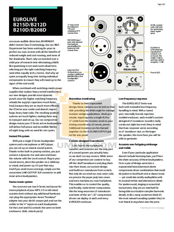 EUROLIVE B210D MANUAL PDF