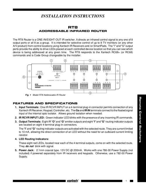 small resolution of pdf for xantech router rt8 manual