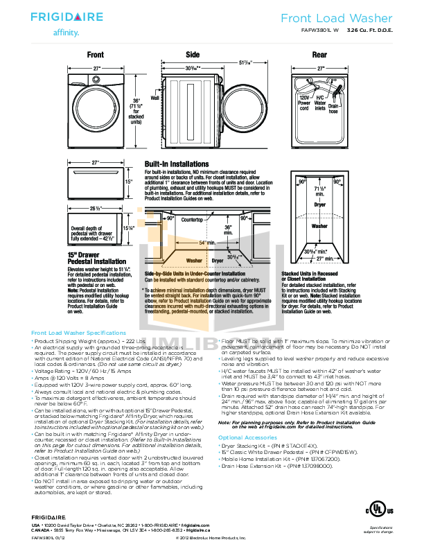 Download free pdf for Frigidaire Affinity FAFW3801L Washer