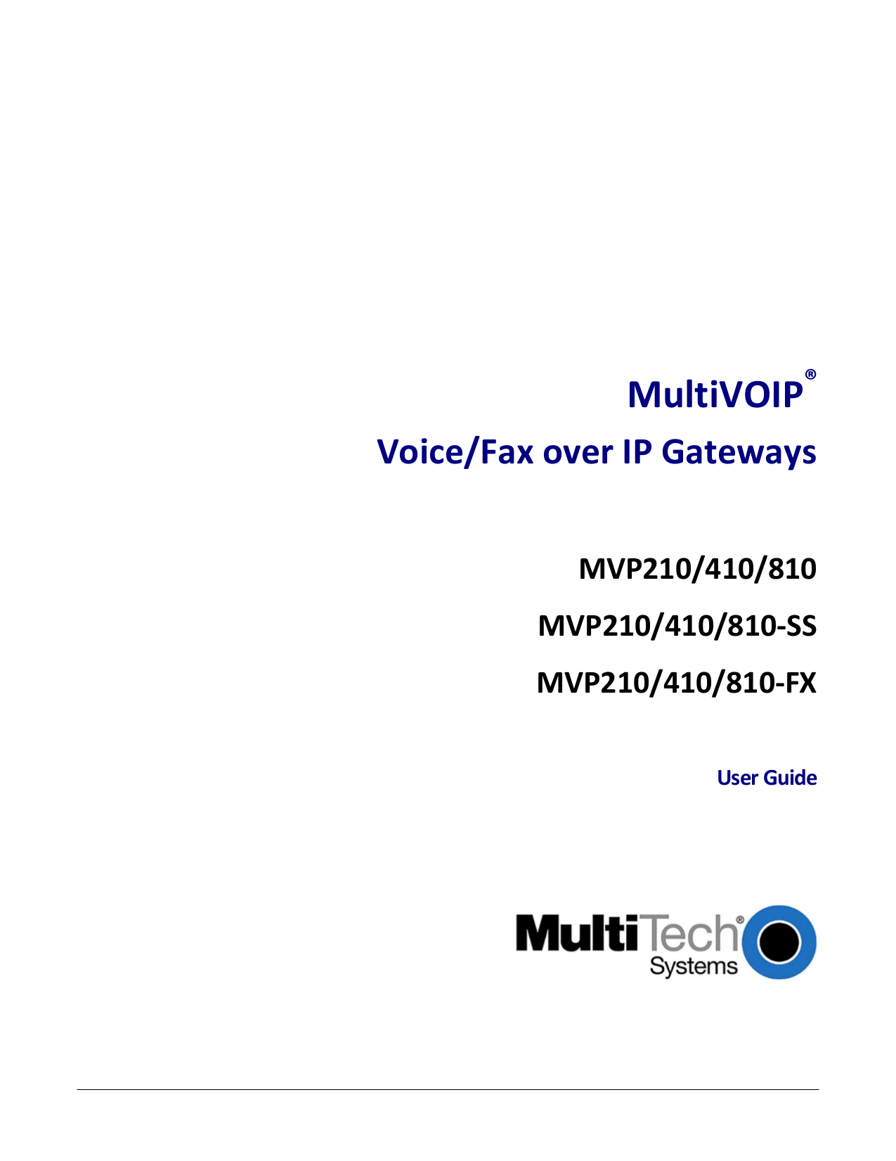 Download free pdf for Multi-Tech MultiVOIP SS MVP410-SS