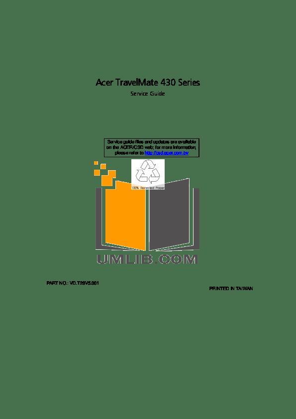 Download free pdf for Acer TravelMate 430 Laptop manual