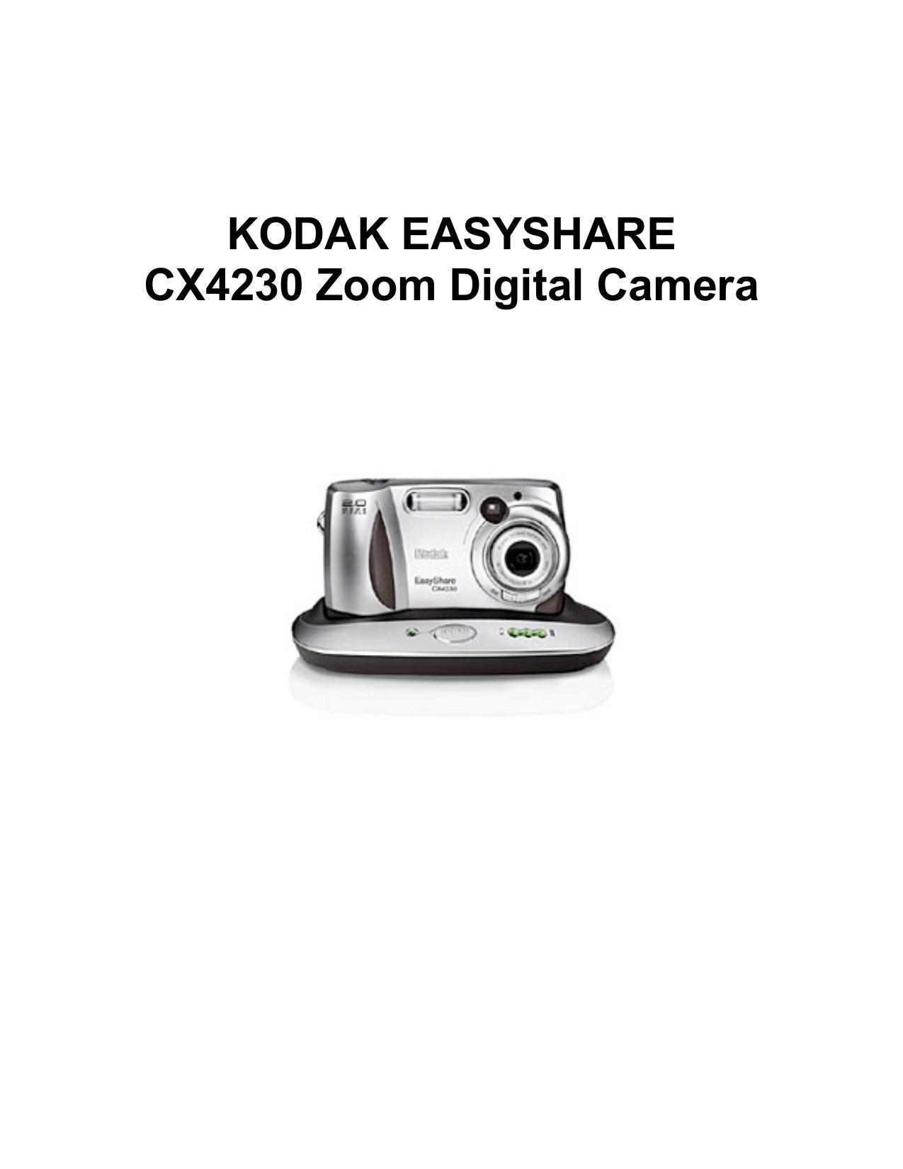 PDF manual for Kodak Digital Camera EasyShare CX4230
