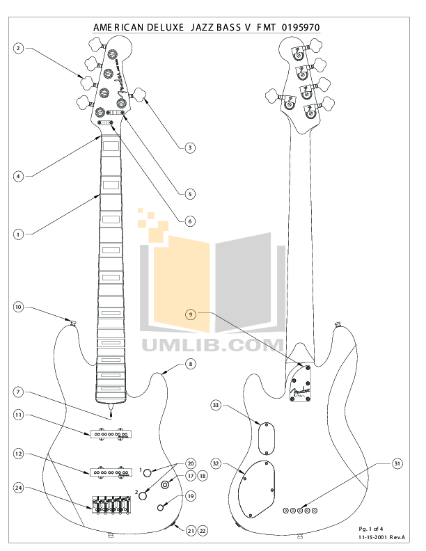 Download free pdf for Fender American Deluxe Jazz Bass V