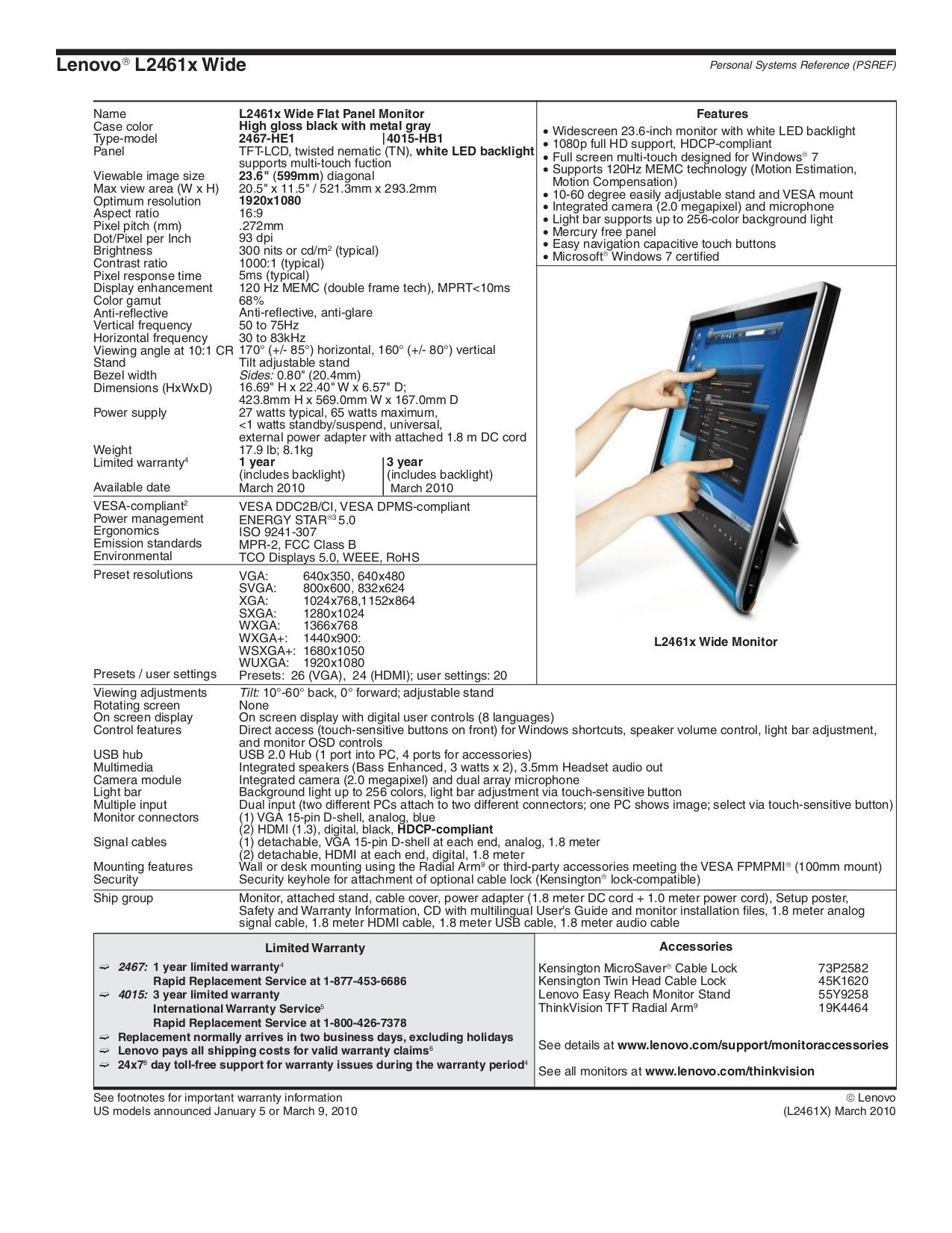 PDF manual for Lenovo Monitor ThinkVision L2250p