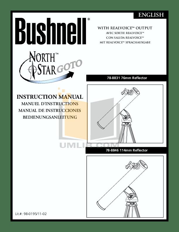 Download free pdf for Bushnell Northstar 78-8846 Telescope