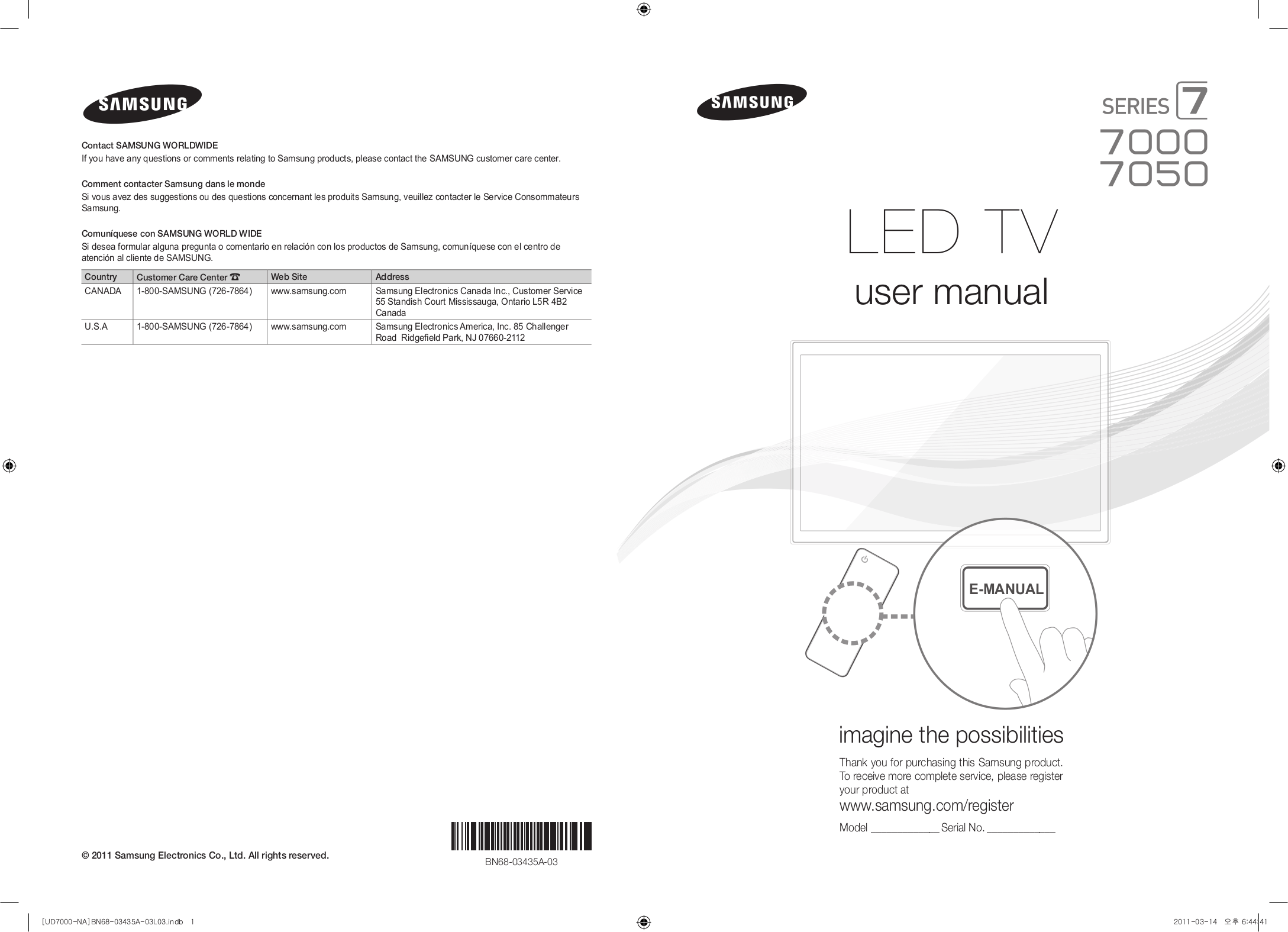 Download free pdf for Samsung UN55D7000 TV manual