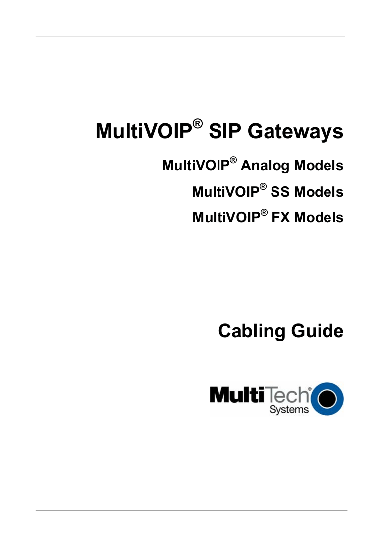Download free pdf for Multi-Tech MultiVOIP FX MVP210-FX