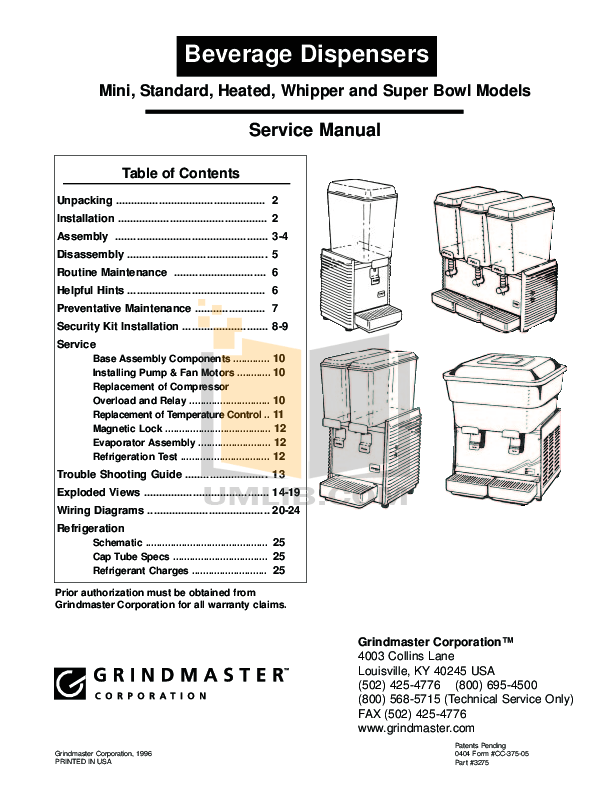 Download free pdf for Grindmaster 2450 Coffee Maker manual