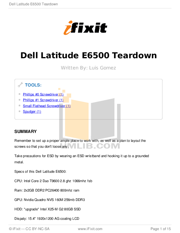 Download free pdf for Dell Latitude E6500 Laptop manual