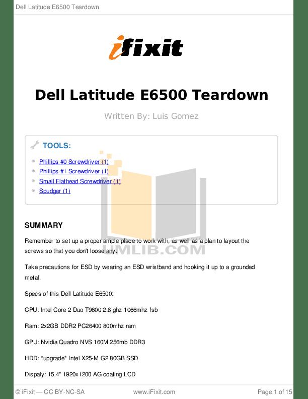 Download free pdf for Dell Latitude E6500 Laptop manual
