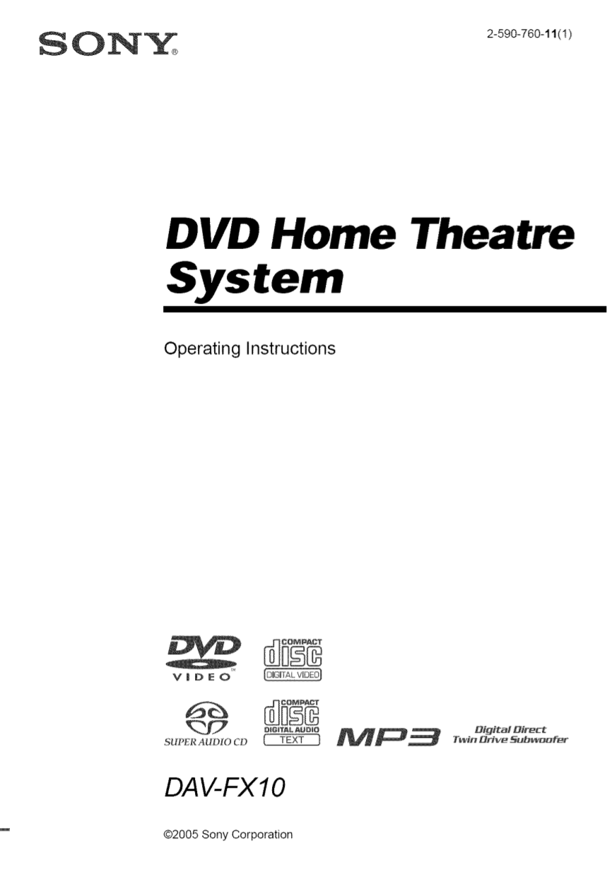 Download free pdf for Sony DAV-FX10 Home Theater manual