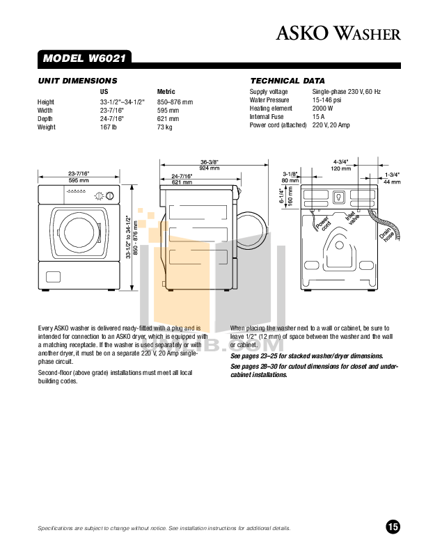 PDF manual for Asko Dishwasher D1706