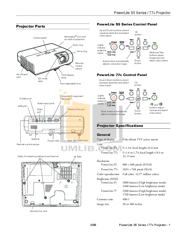 Download free pdf for Epson PowerLite 77c Projector manual