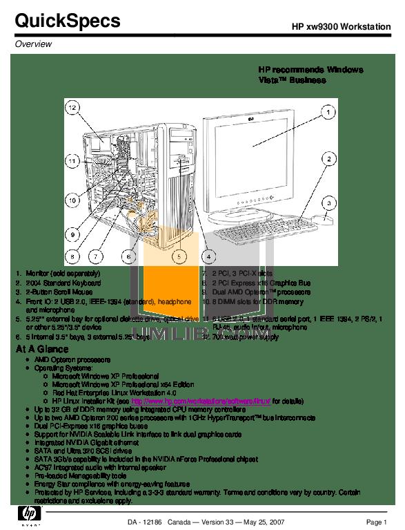 Download free pdf for HP xw9300 Desktop manual