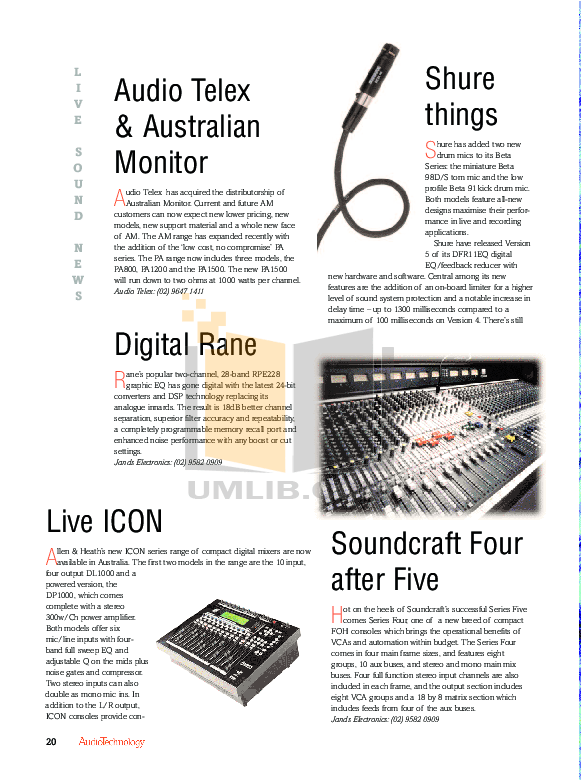 PDF manual for Behringer Other Ultramizer Pro DSP1400P
