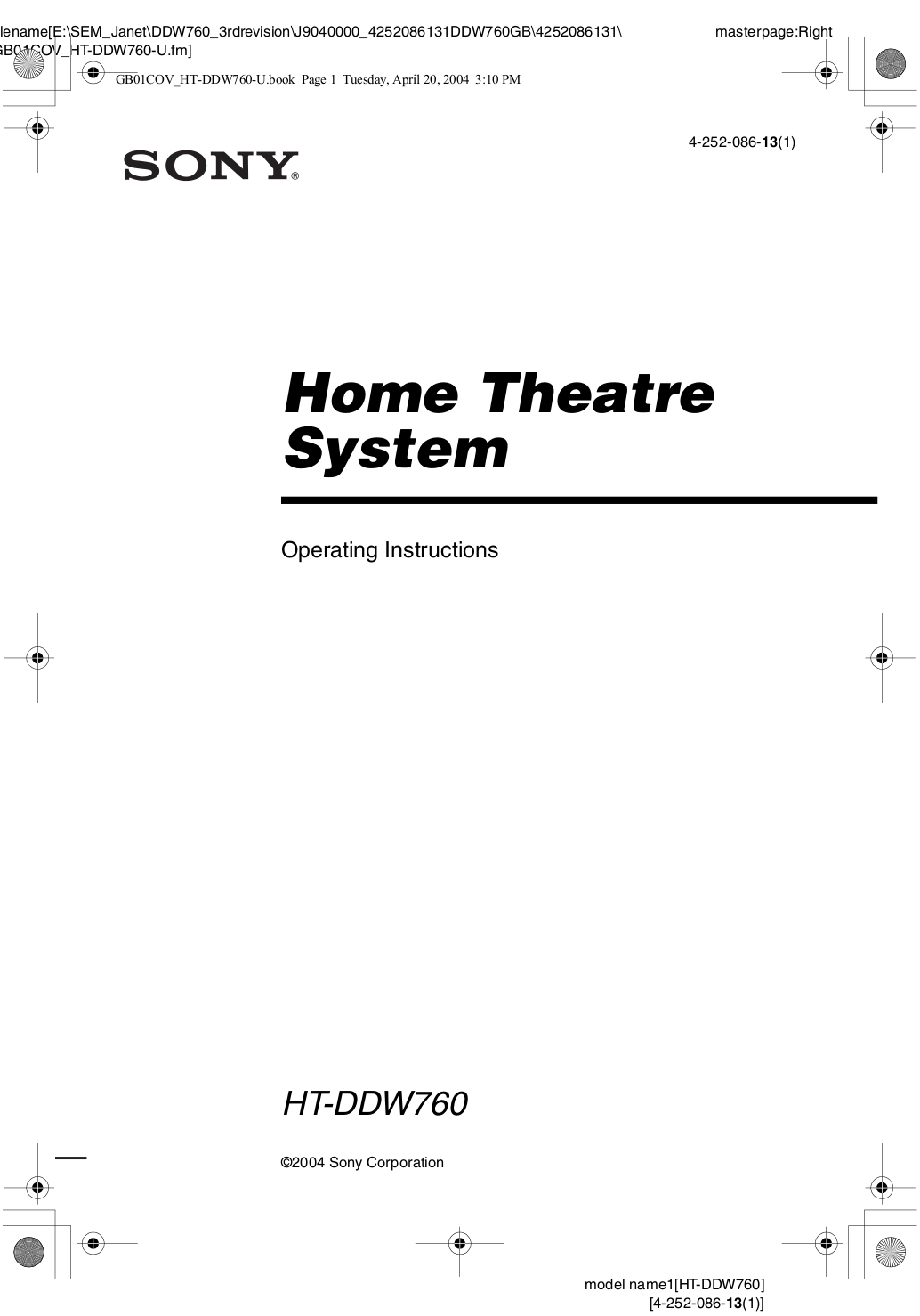 Download free pdf for Sony HT-DDW760 Home Theater manual