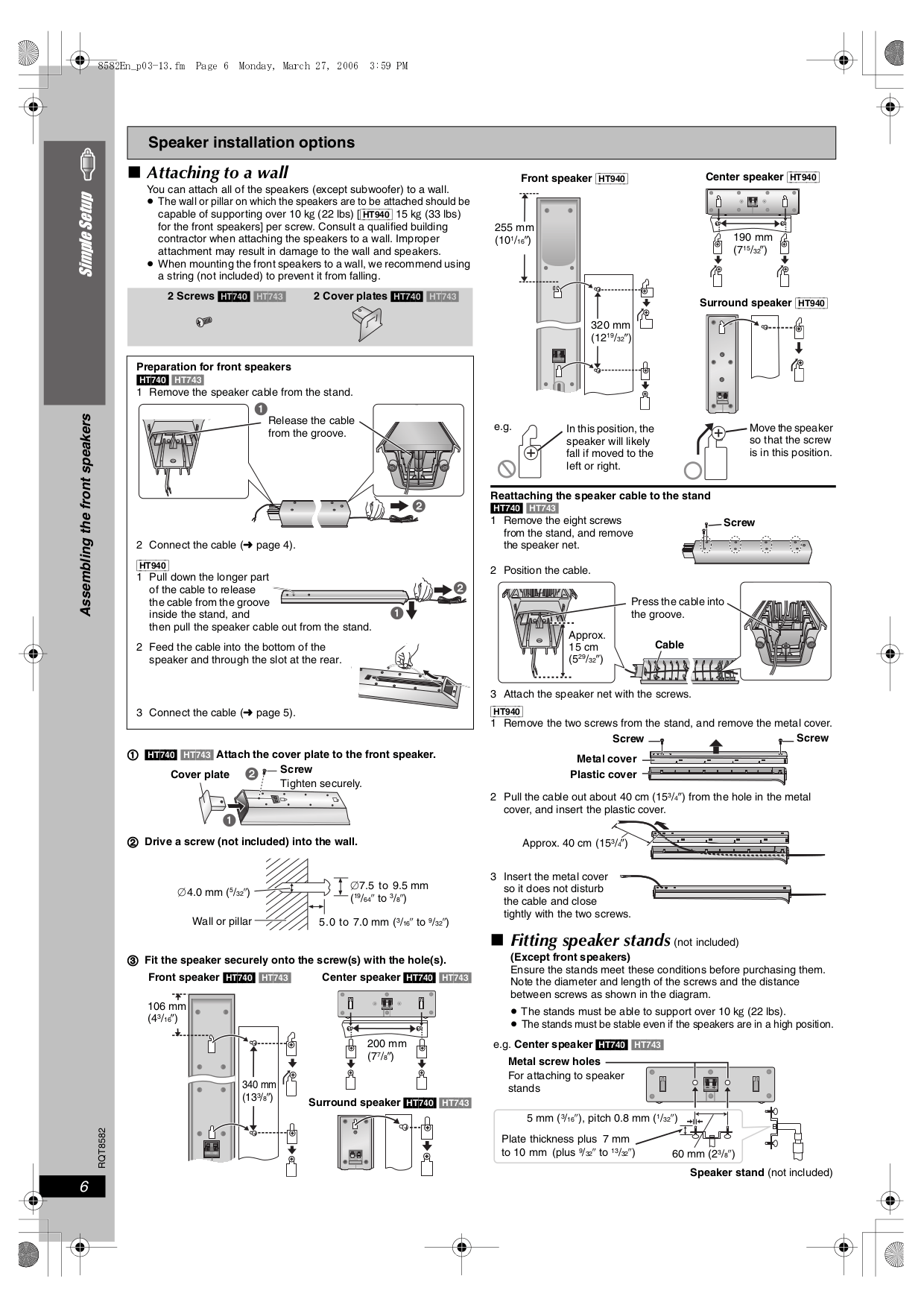 PDF manual for Panasonic Home Theater SC-HT740