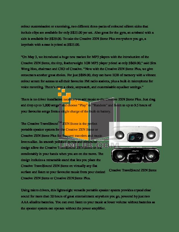 PDF manual for Creative MP3 Player ZEN Zen Stone Plus 2GB
