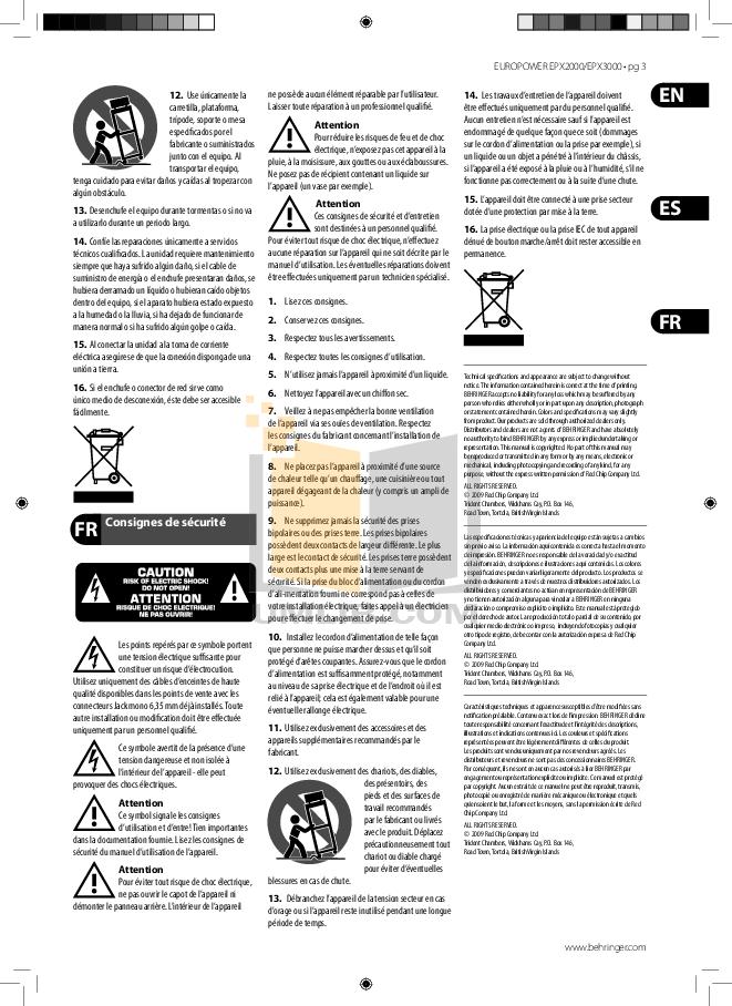 PDF manual for Behringer Amp EUROPOWER EPX3000