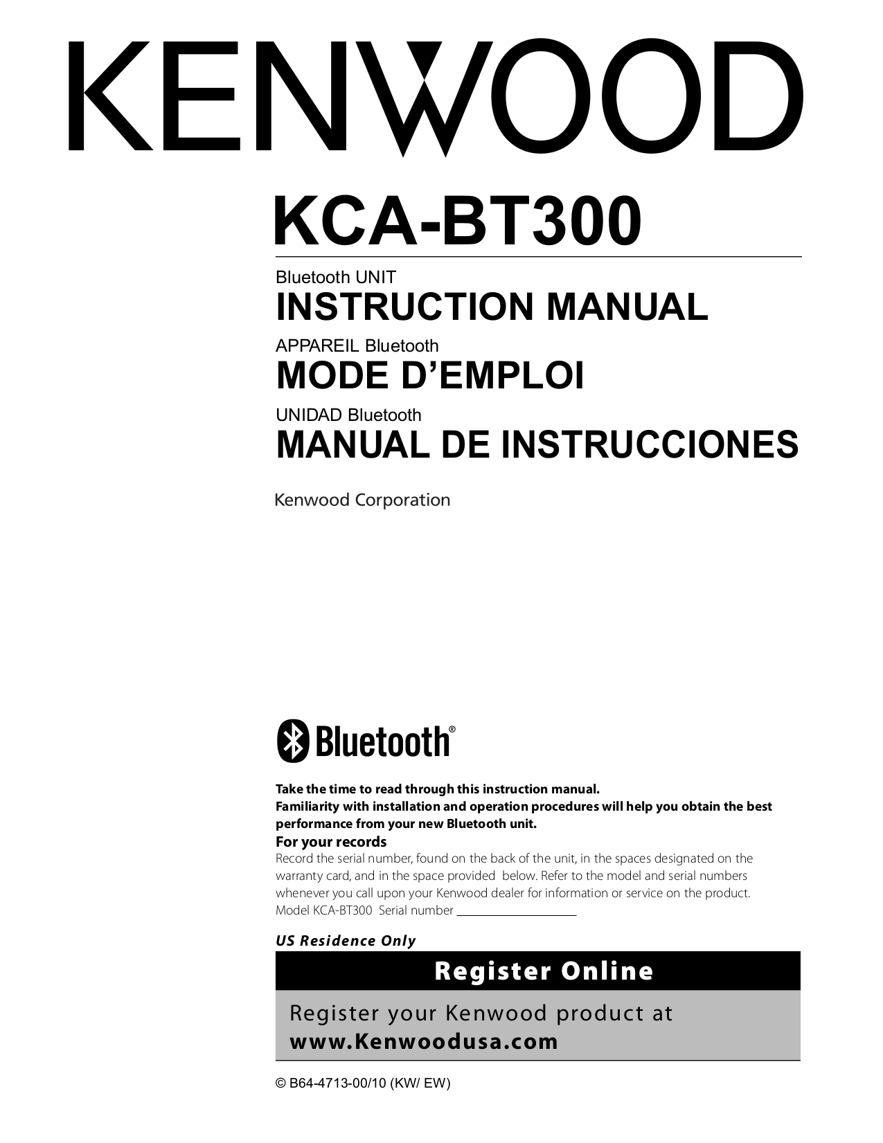 Download free pdf for Kenwood DPX-440 Car Receiver manual
