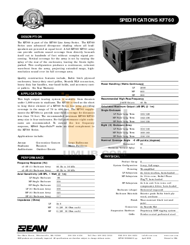 Download free pdf for Eaw KF760 Speaker System manual