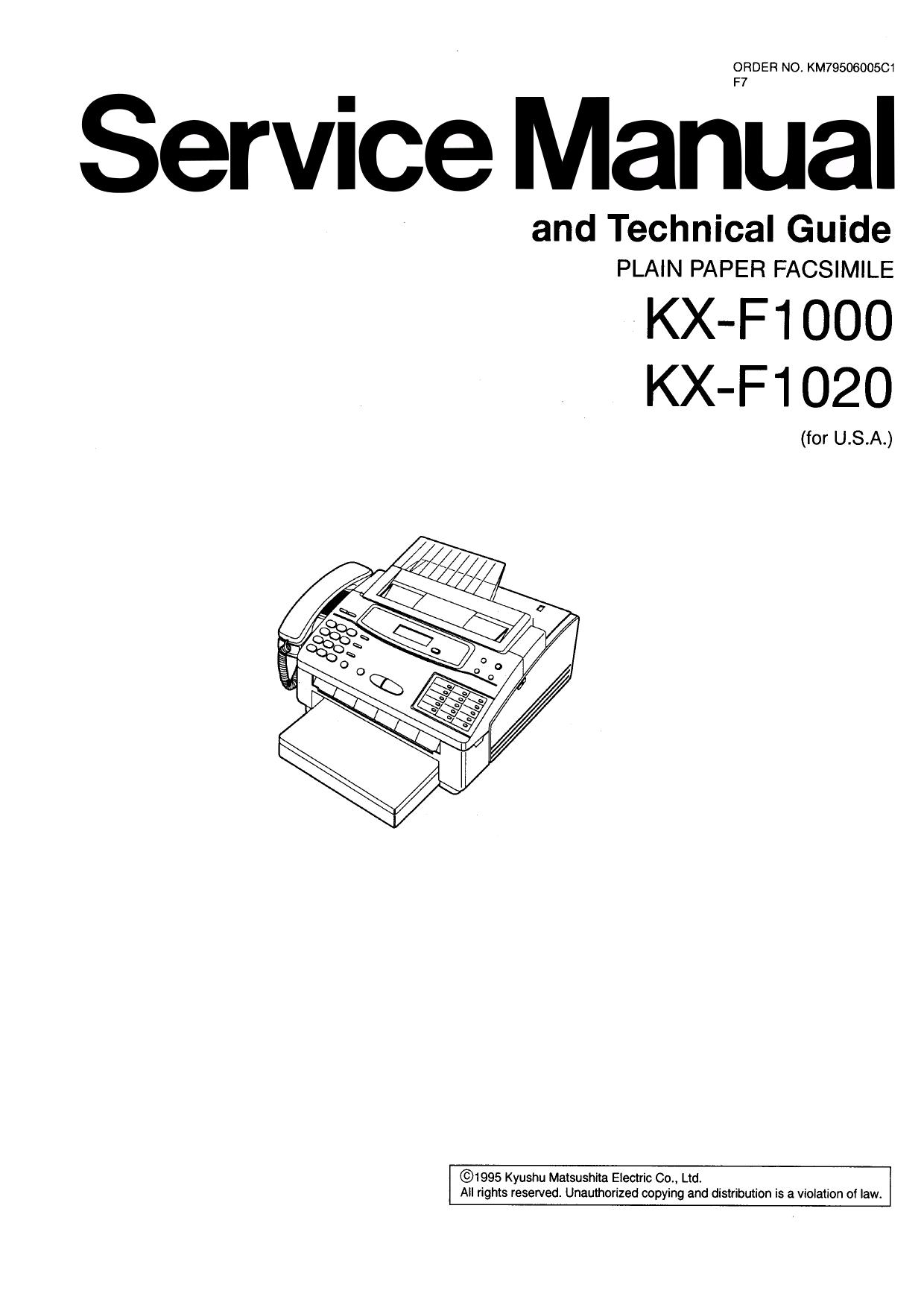 Download free pdf for Panasonic KX-F1000 Fax Machine manual