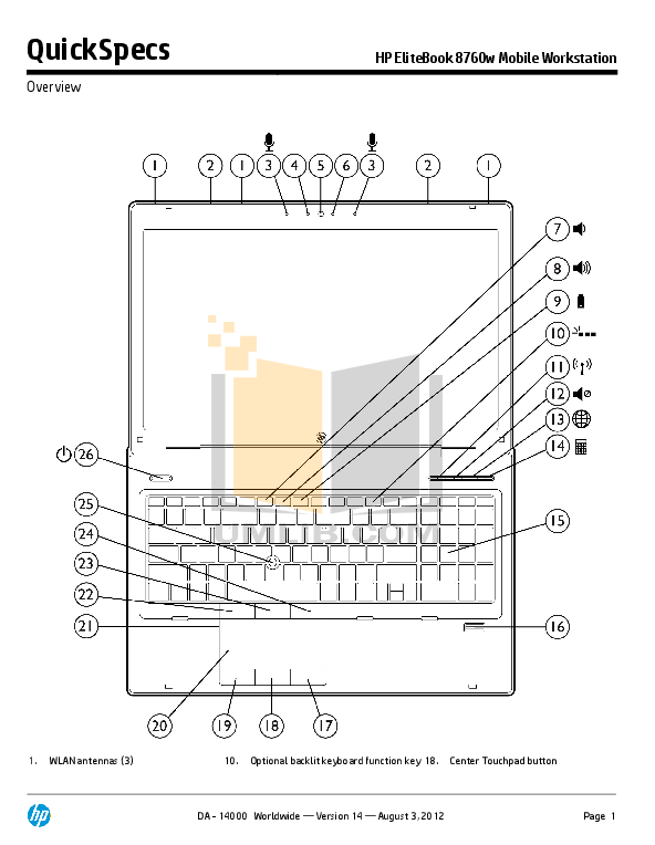 Download free pdf for HP EliteBook 8760w Laptop manual