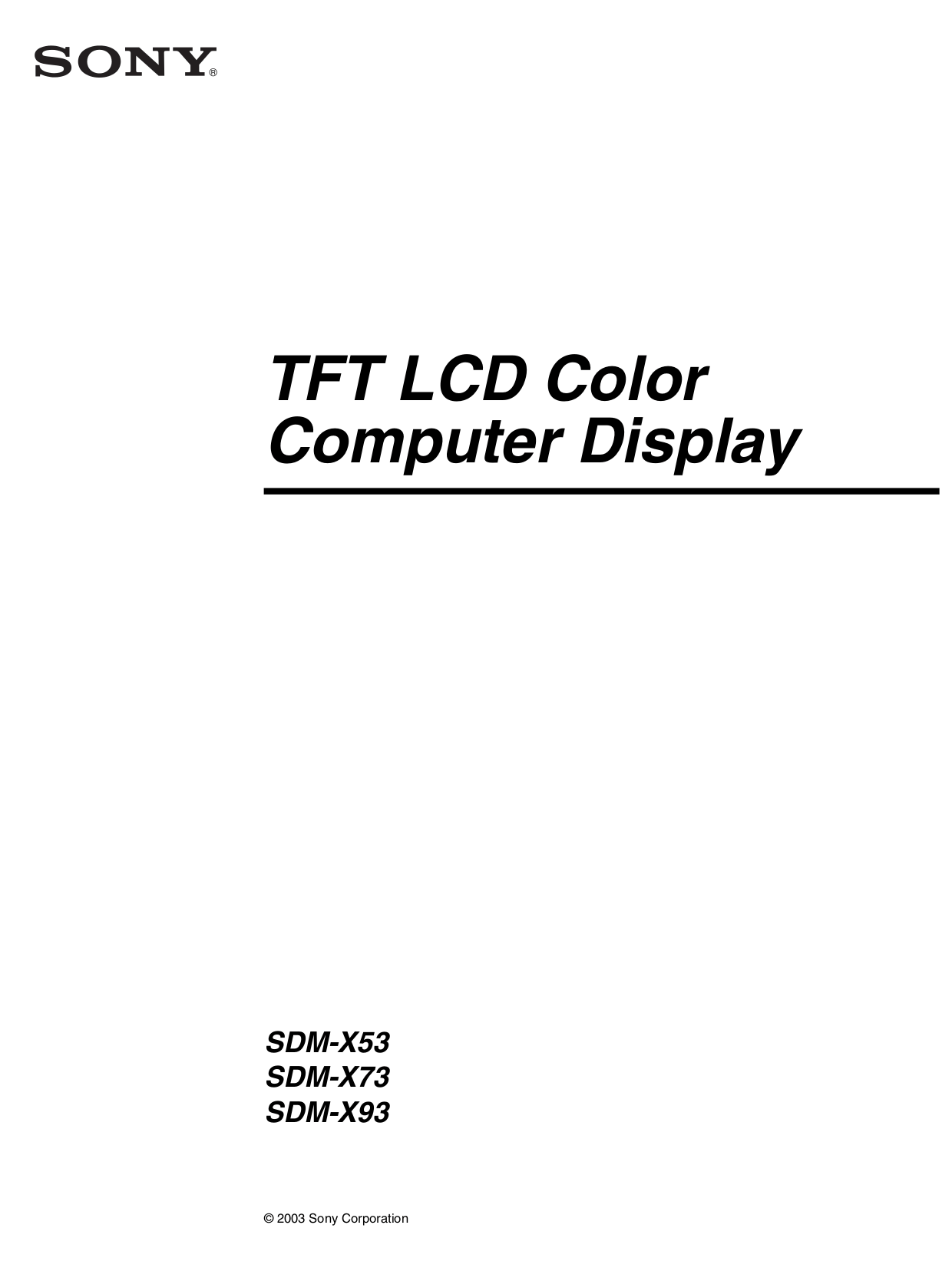 Download free pdf for Sony SDM-X93 Monitor manual