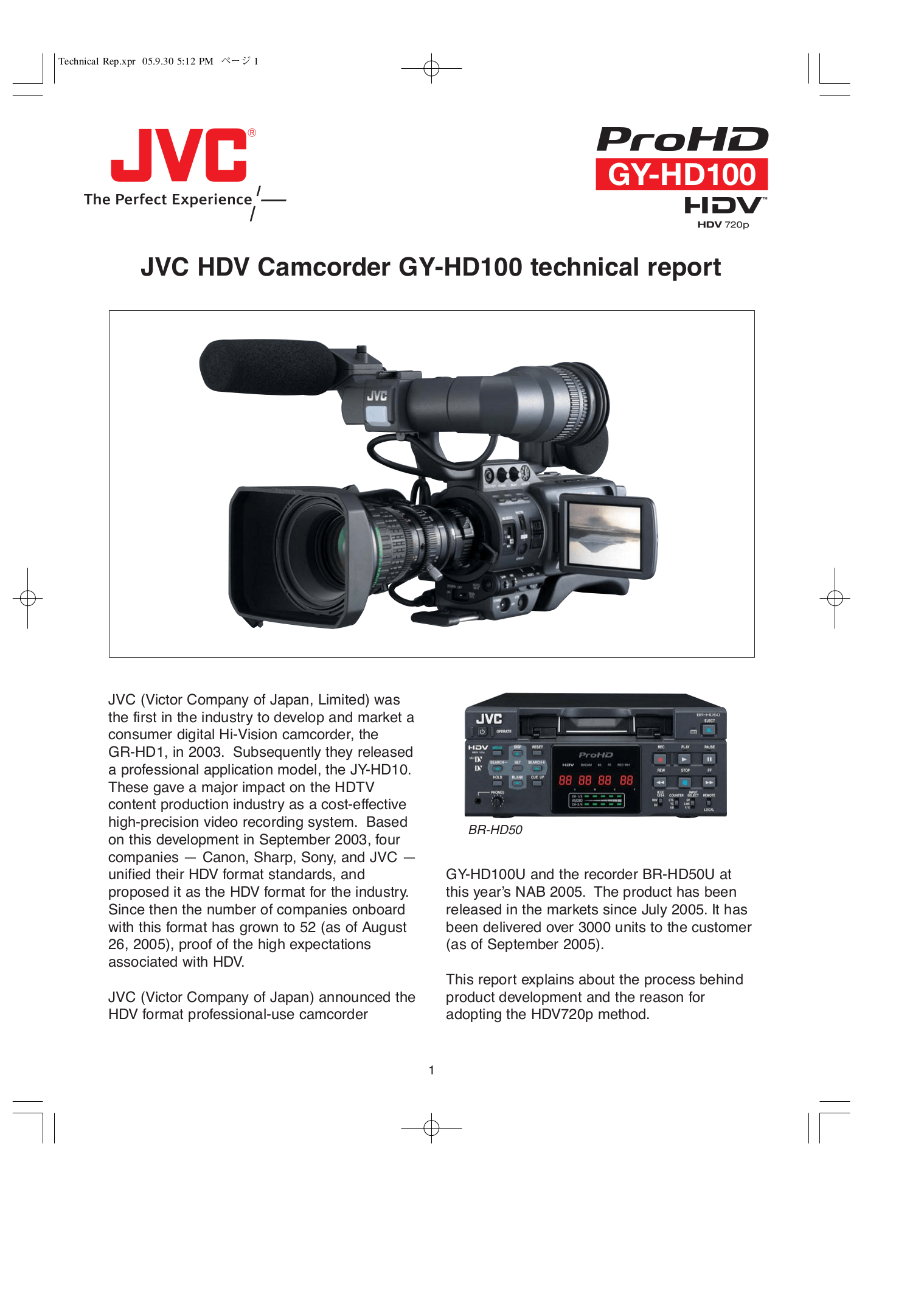 Download free pdf for JVC GY-HD100 Camcorders manual