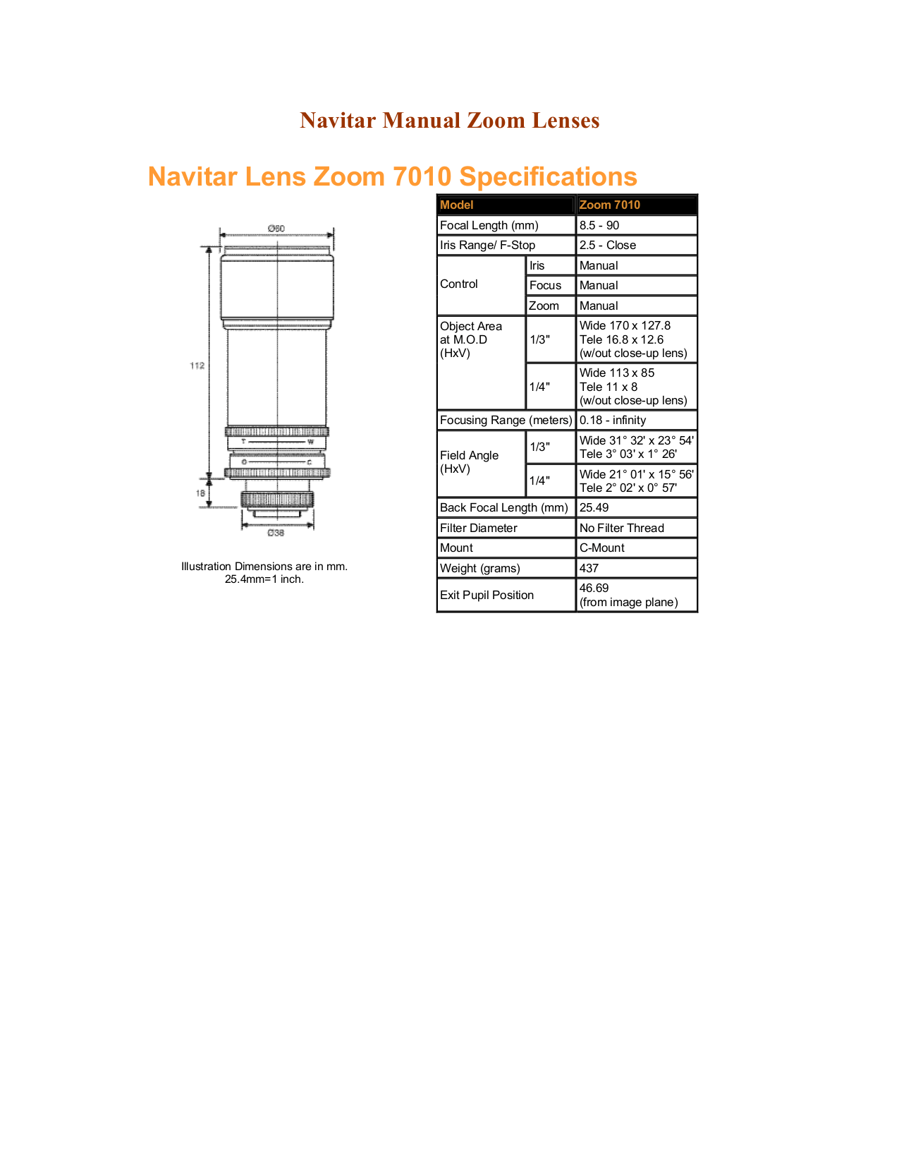 Download free pdf for Navitar Zoom 7000 Lens System Other