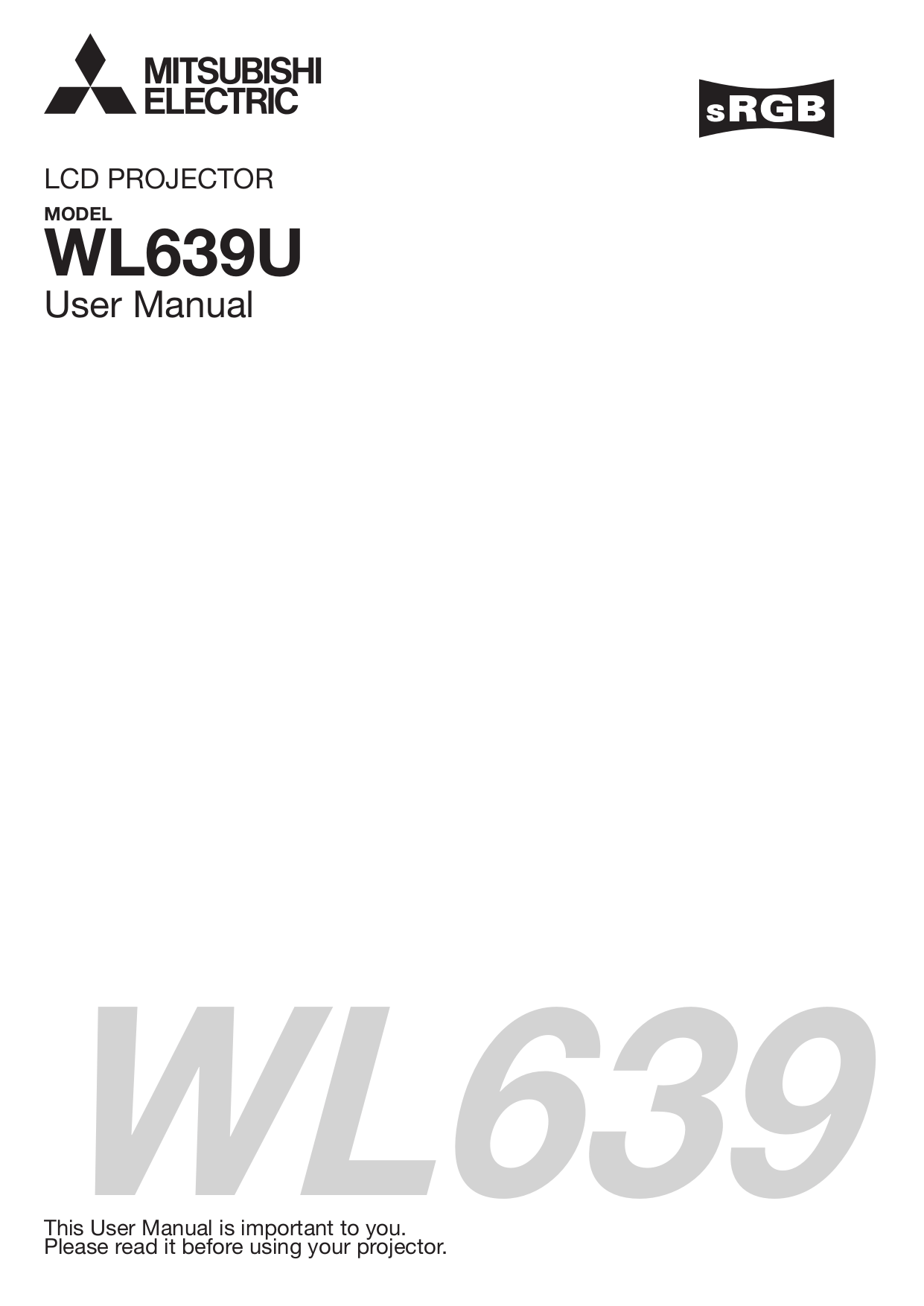 Download free pdf for Mitsubishi WL639U Projector manual