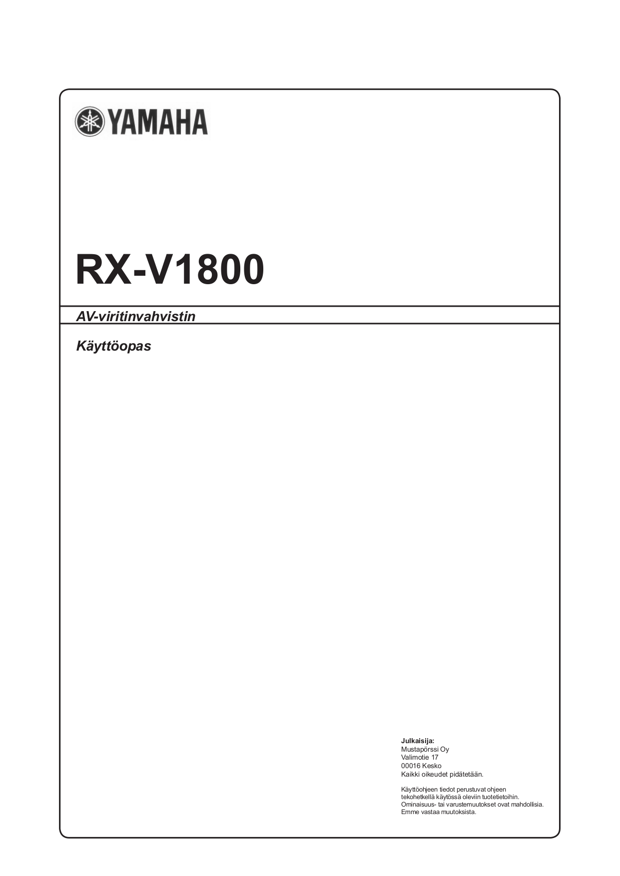Download free pdf for Yamaha RX-V1800 Receiver manual