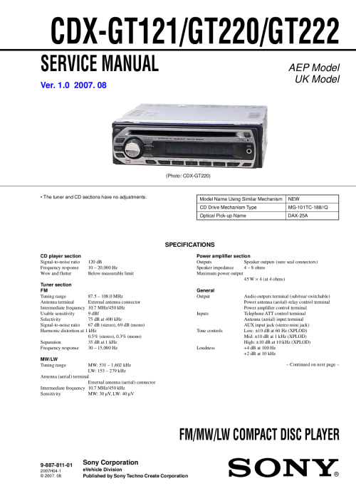 small resolution of  manual sony cdx gt121 gt220 gt222 pdf 0 download free pdf for sony cdx gt220 car
