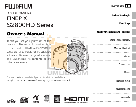 Download free pdf for FujiFilm Finepix 2800 Digital Camera