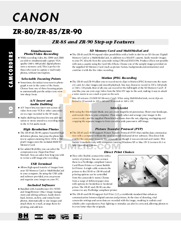 PDF manual for Canon Camcorders Elura 60