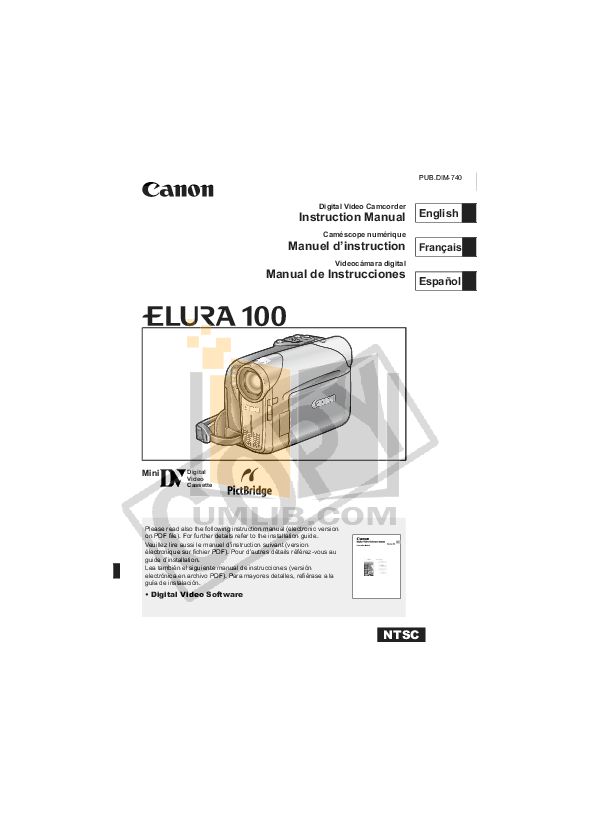 Download free pdf for Canon Elura 60 Camcorders manual
