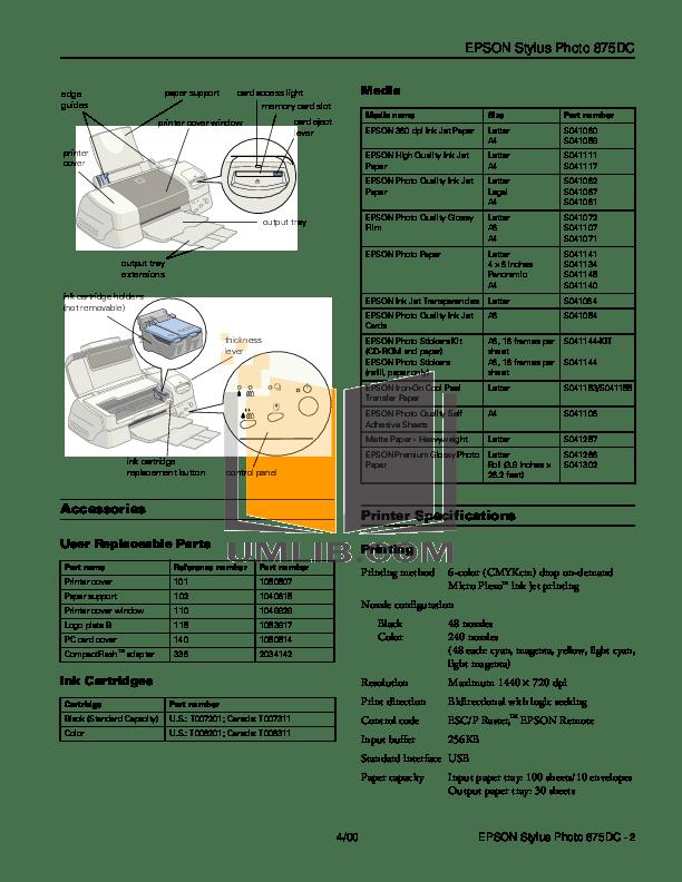 Download free pdf for Epson Stylus Photo 875DC Printer manual