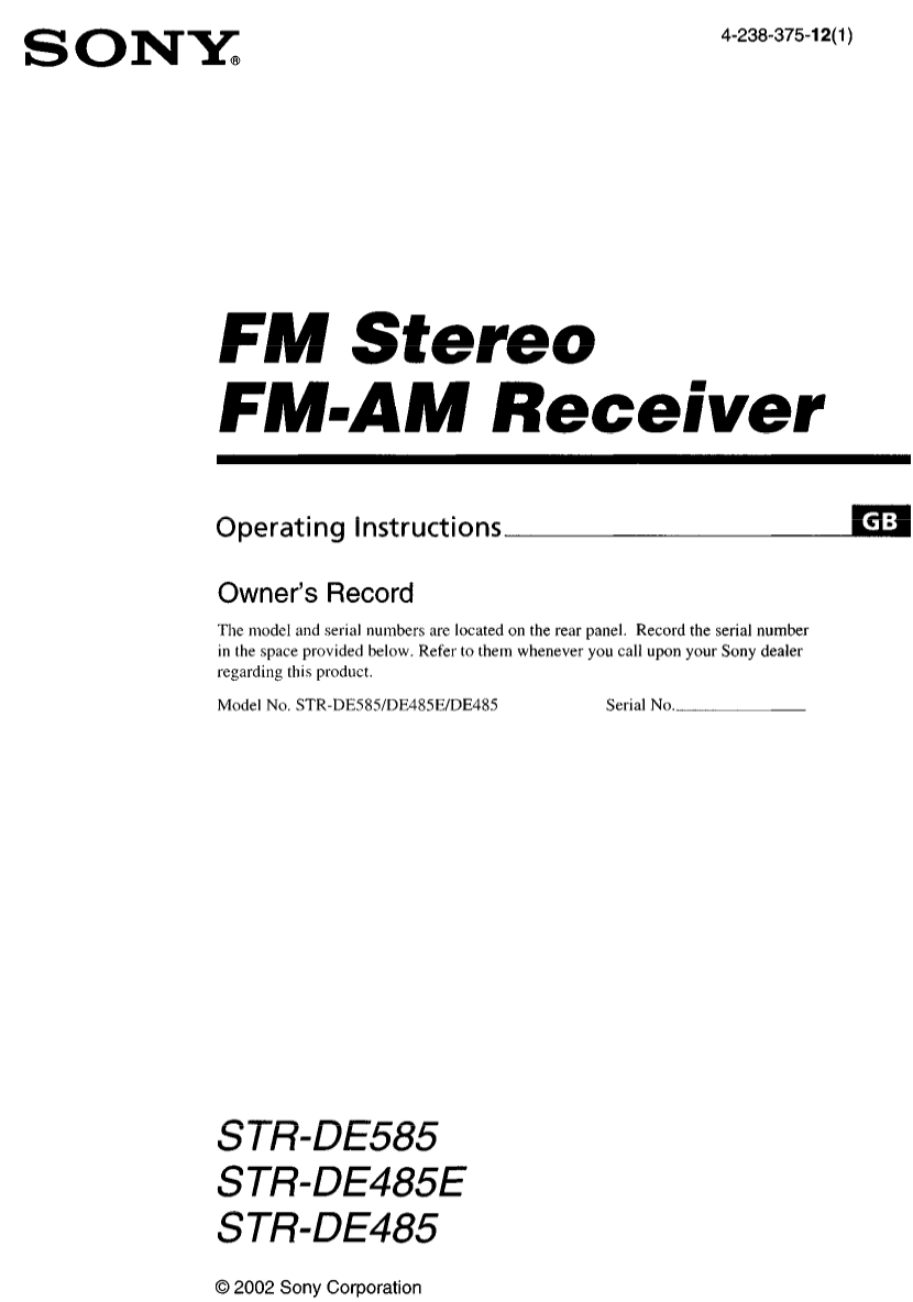 Download free pdf for Sony STR-DE485 Receiver manual