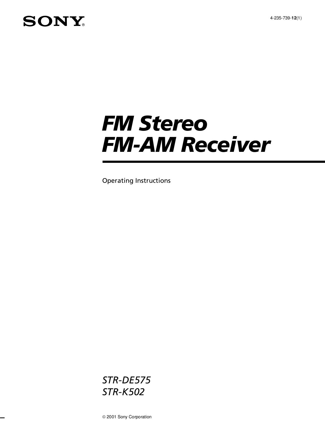 Download free pdf for Sony STR-DE485 Receiver manual