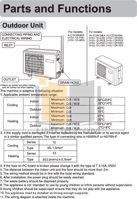 PDF manual for Haier Air Conditioner HSU-12LP03