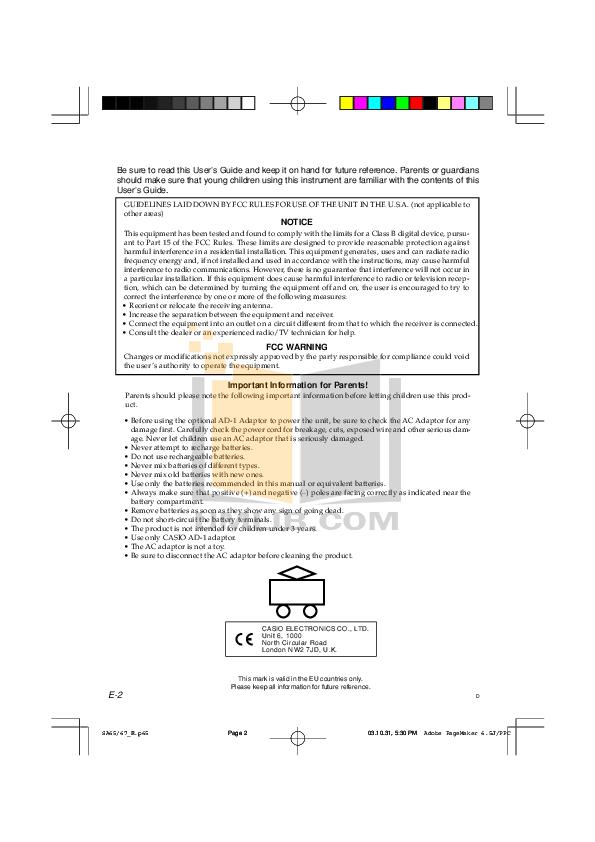 PDF manual for Casio Music Keyboard SA-67