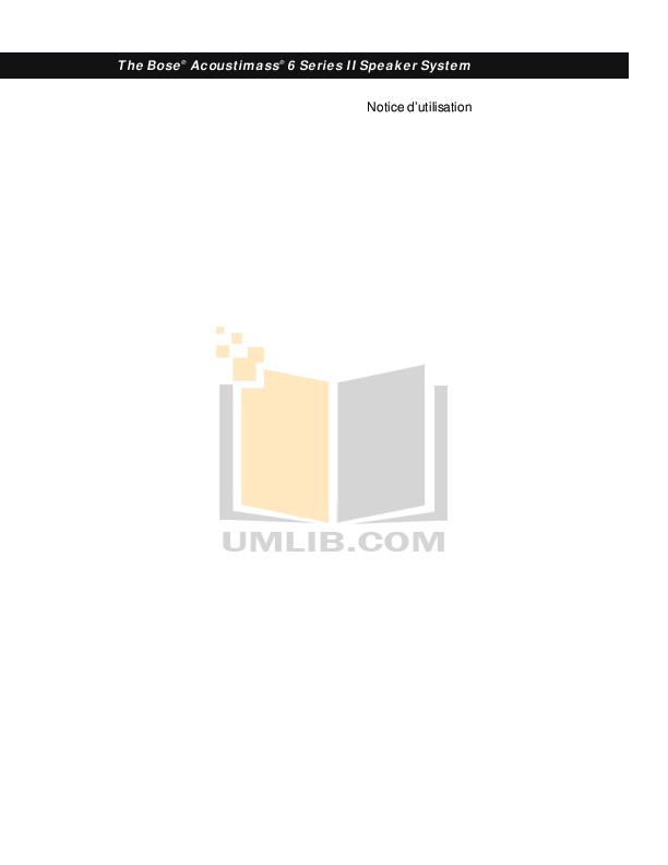 Download free pdf for Bose Acoustimass 6 Series II Speaker