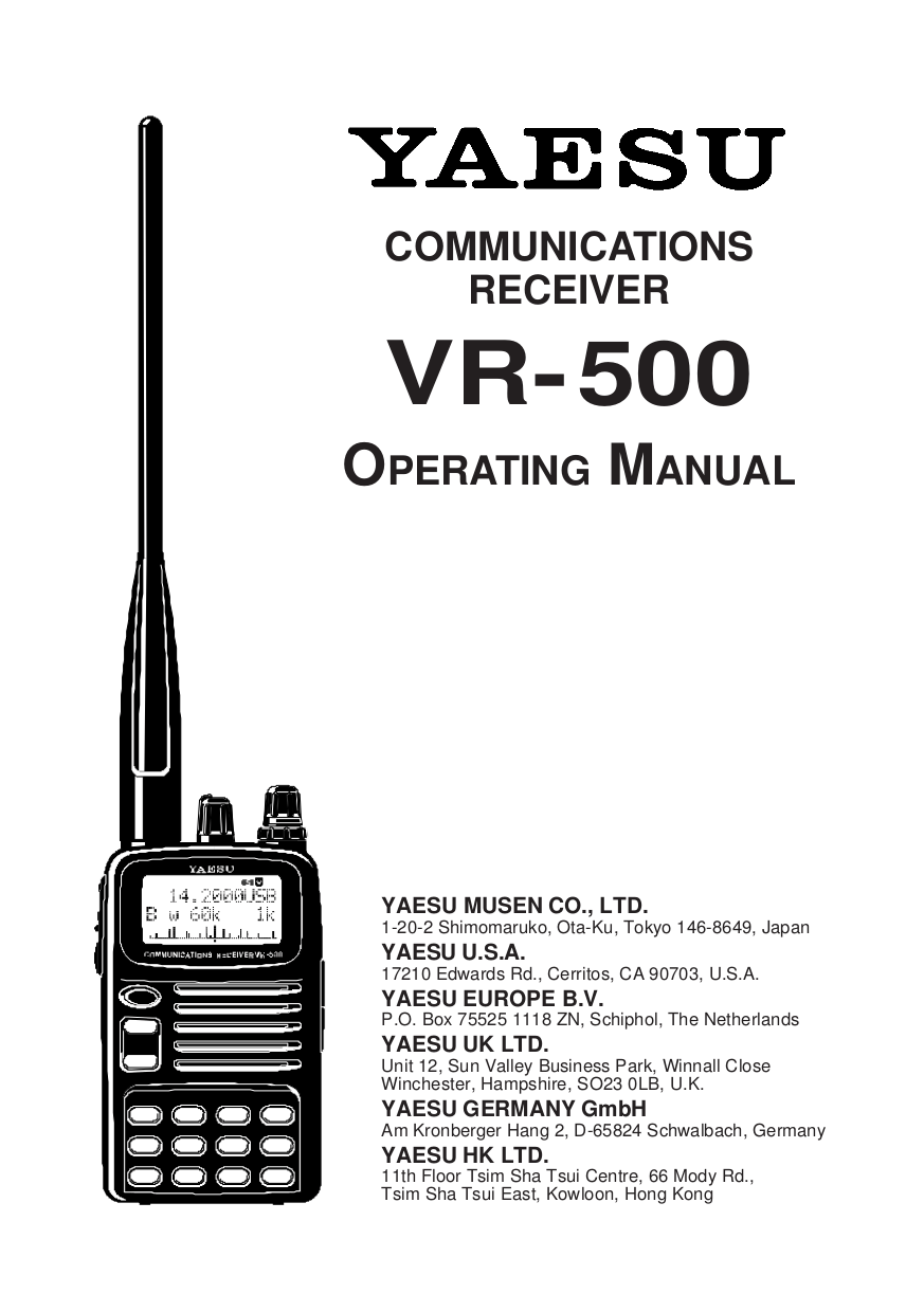 Download free pdf for Yaesu VR-500 Receiver Other manual