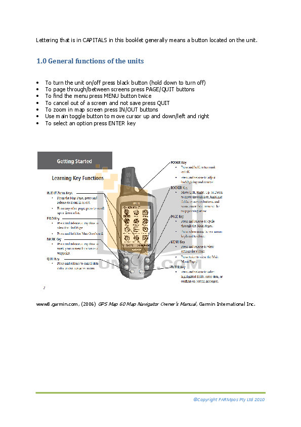 PDF manual for Garmin GPS GPS 60