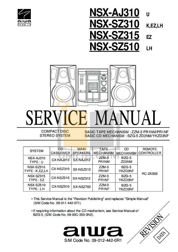 Download free pdf for Aiwa NSX-A92 Stereo Systems Other manual