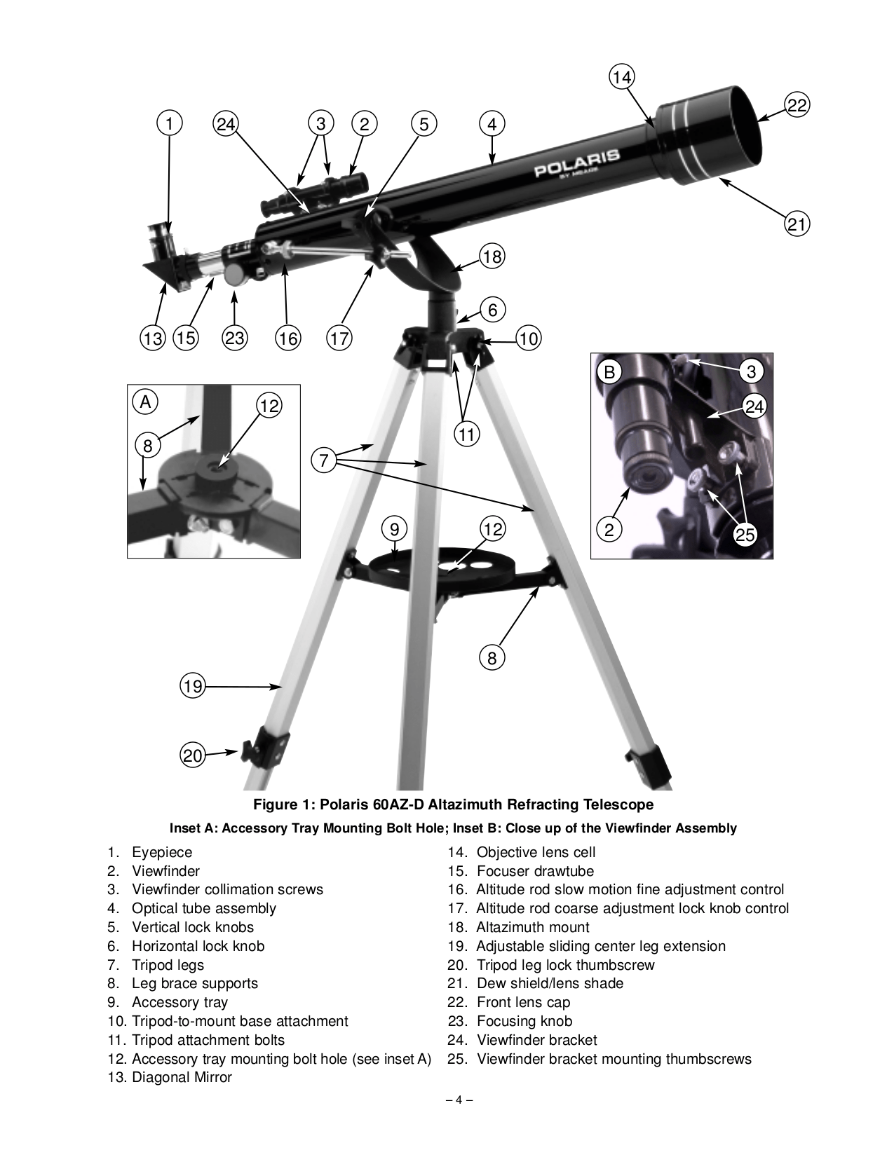 PDF manual for Meade Telescope Polaris 60AZ-D