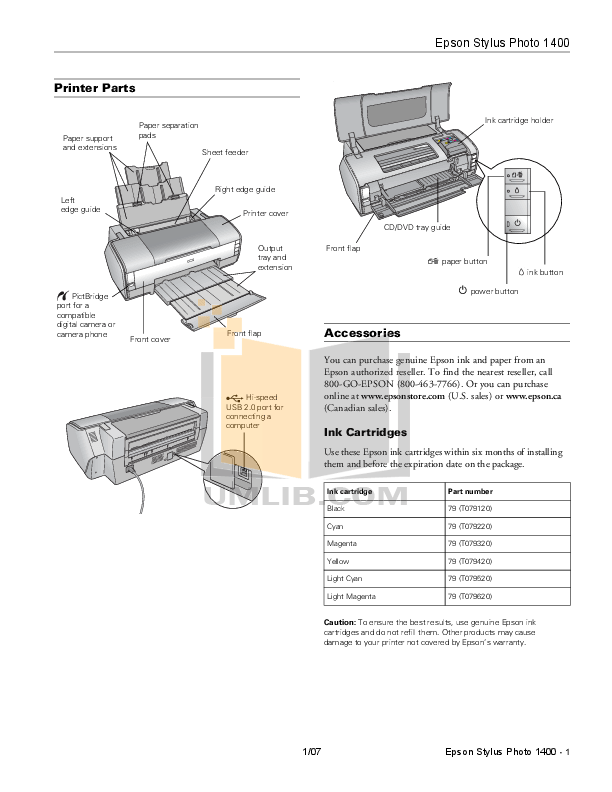 Download free pdf for Epson Stylus Photo 1400 Printer manual