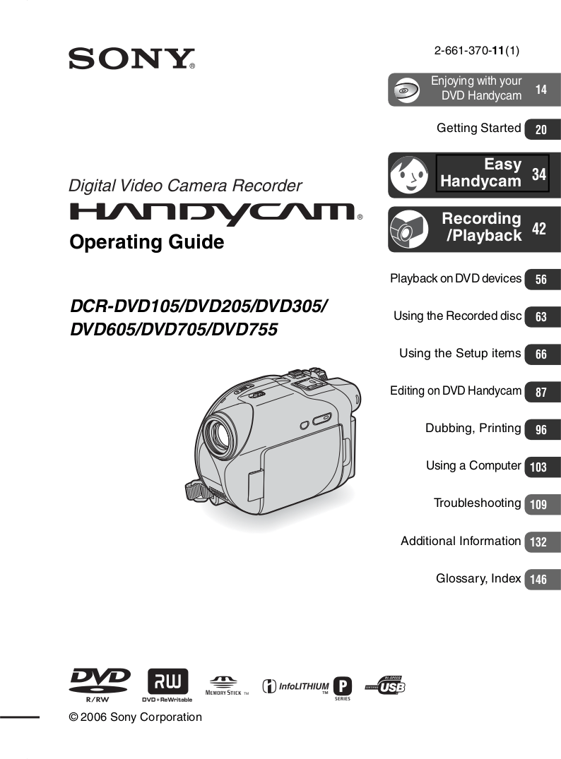 Download free pdf for Sony Handycam DCR-DVD705 Camcorders
