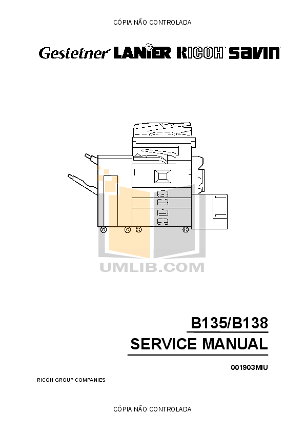 Download free pdf for Gestetner DSm645 Copier manual